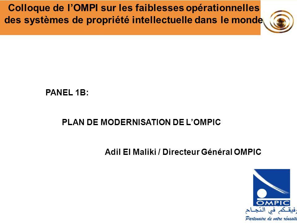 PANEL 1B: PLAN DE MODERNISATION DE LOMPIC Adil El Maliki / Directeur Général OMPIC Colloque de lOMPI sur les faiblesses opérationnelles des systèmes d