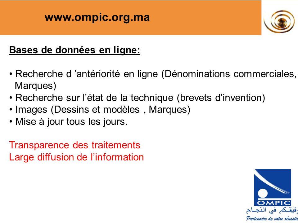 www.ompic.org.ma Bases de données en ligne: Recherche d antériorité en ligne (Dénominations commerciales, Marques) Recherche sur létat de la technique