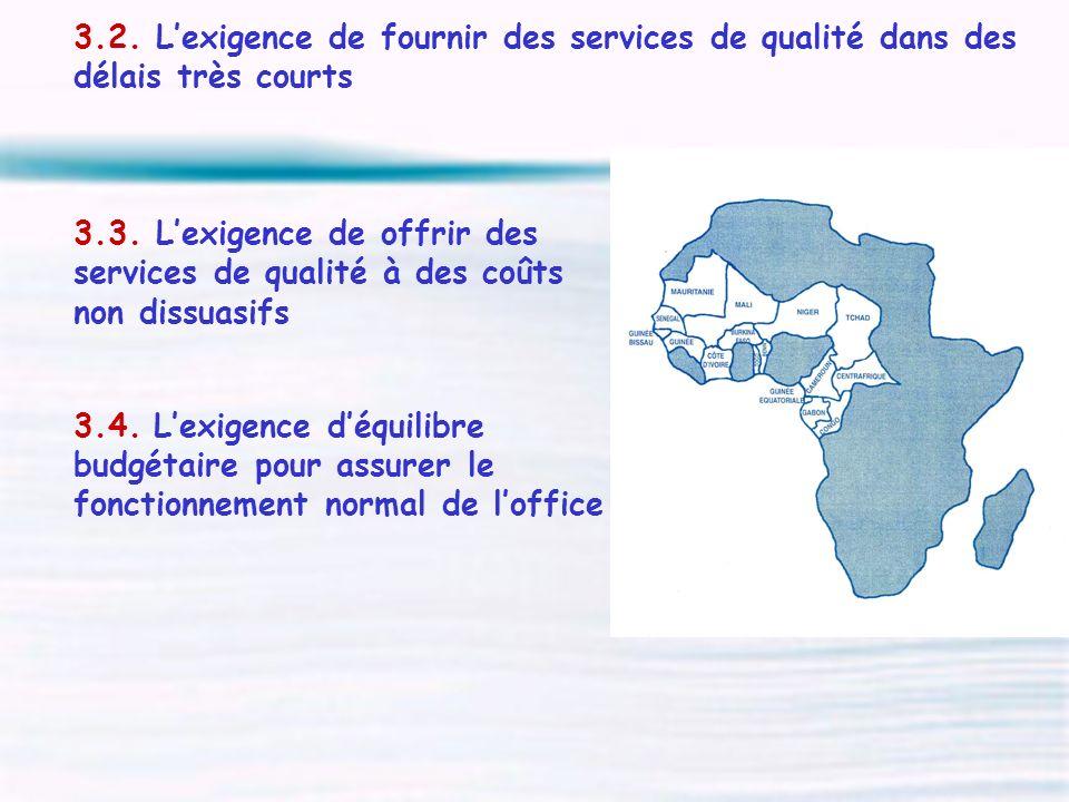 3.2. Lexigence de fournir des services de qualité dans des délais très courts 3.3. Lexigence de offrir des services de qualité à des coûts non dissuas