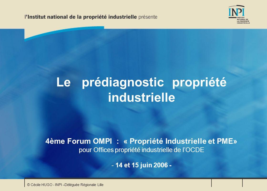 © Cécile HUGO - INPI –Déléguée Régionale Lille Le prédiagnostic propriété industrielle 4ème Forum OMPI : « Propriété Industrielle et PME» pour Offices