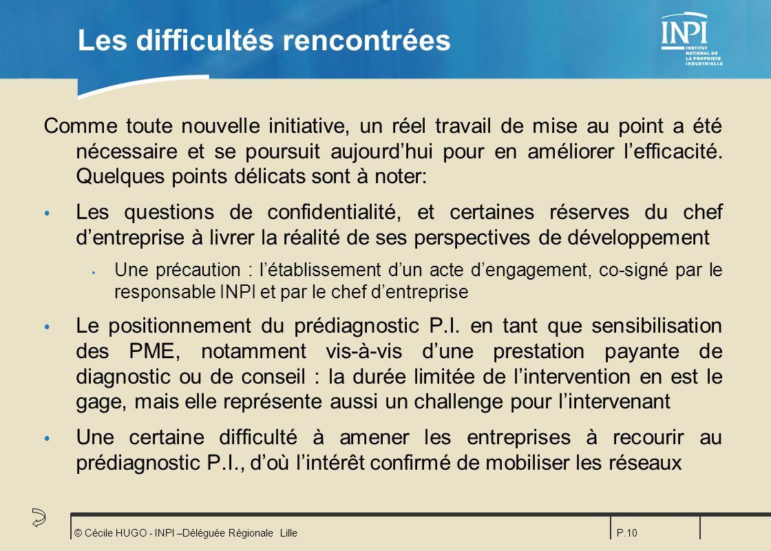 © Cécile HUGO - INPI –Déléguée Régionale LilleP.10 Les difficultés rencontrées Comme toute nouvelle initiative, un réel travail de mise au point a été