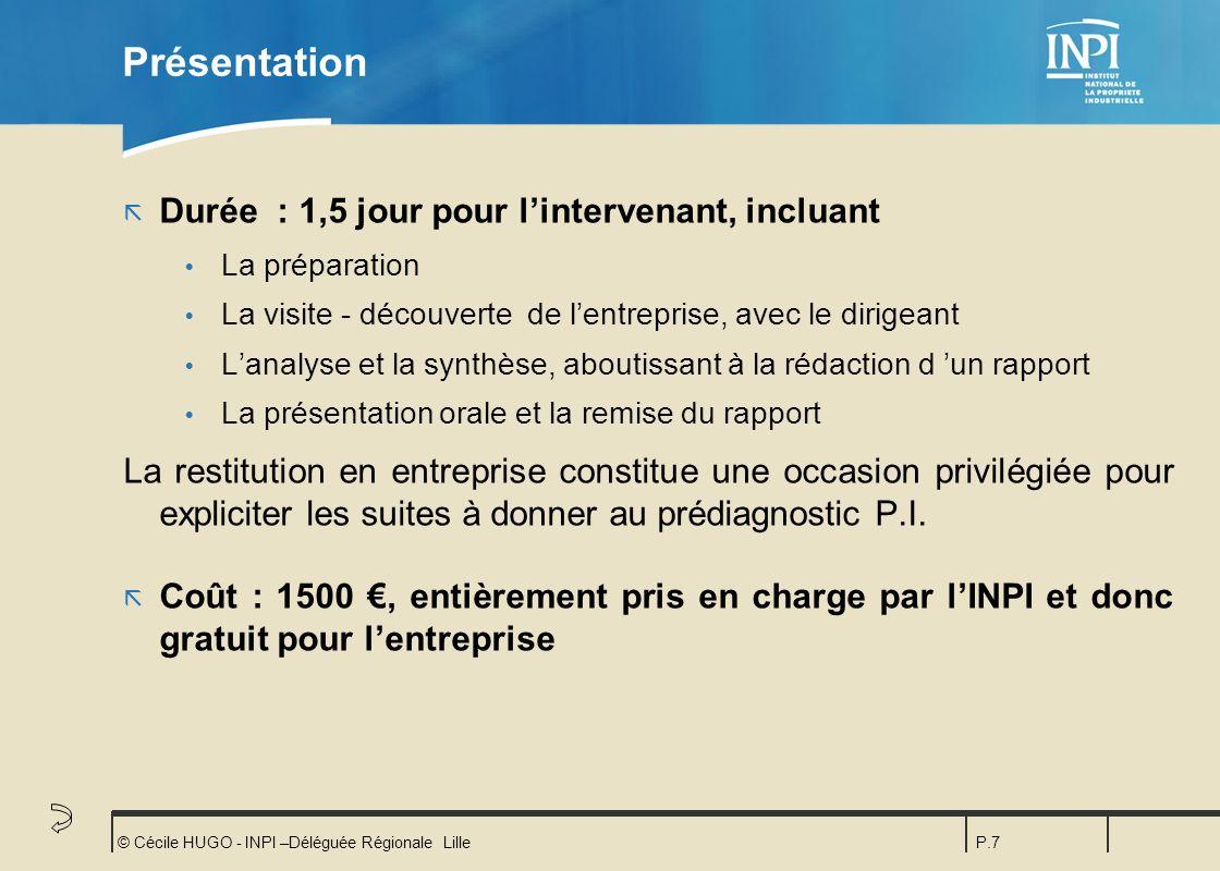 © Cécile HUGO - INPI –Déléguée Régionale LilleP.7 Présentation ã Durée : 1,5 jour pour lintervenant, incluant Ÿ La préparation Ÿ La visite - découvert