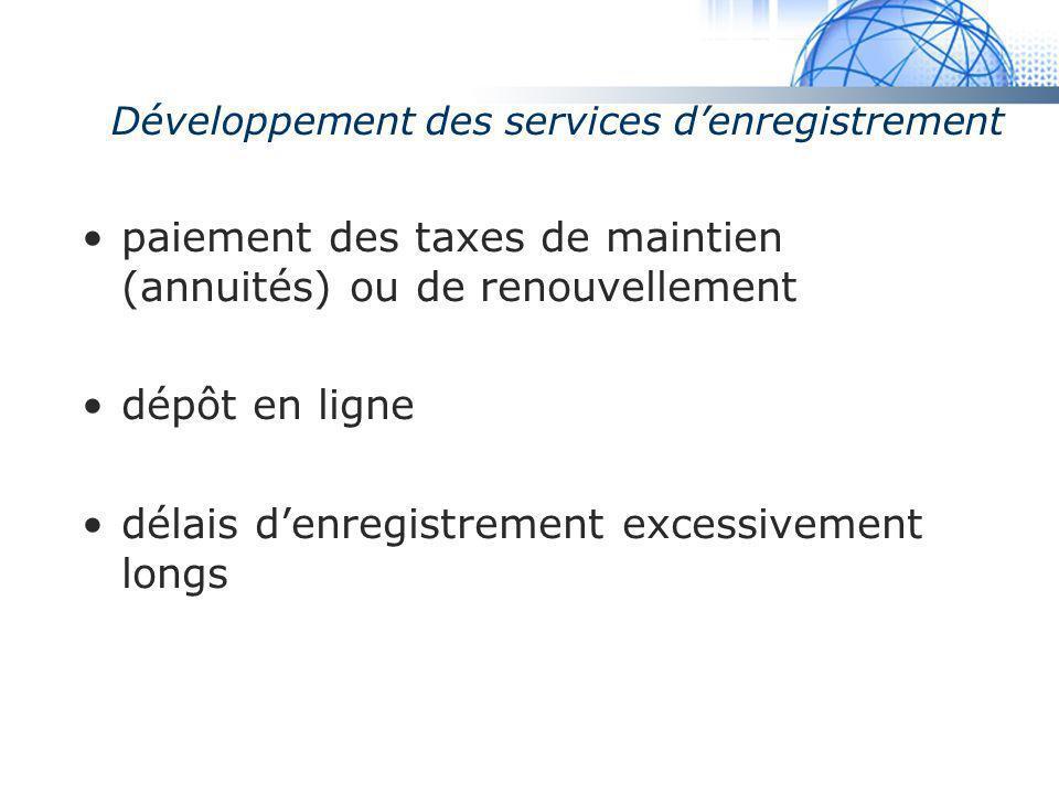 Madrid System Développement des services denregistrement paiement des taxes de maintien (annuités) ou de renouvellement dépôt en ligne délais denregis