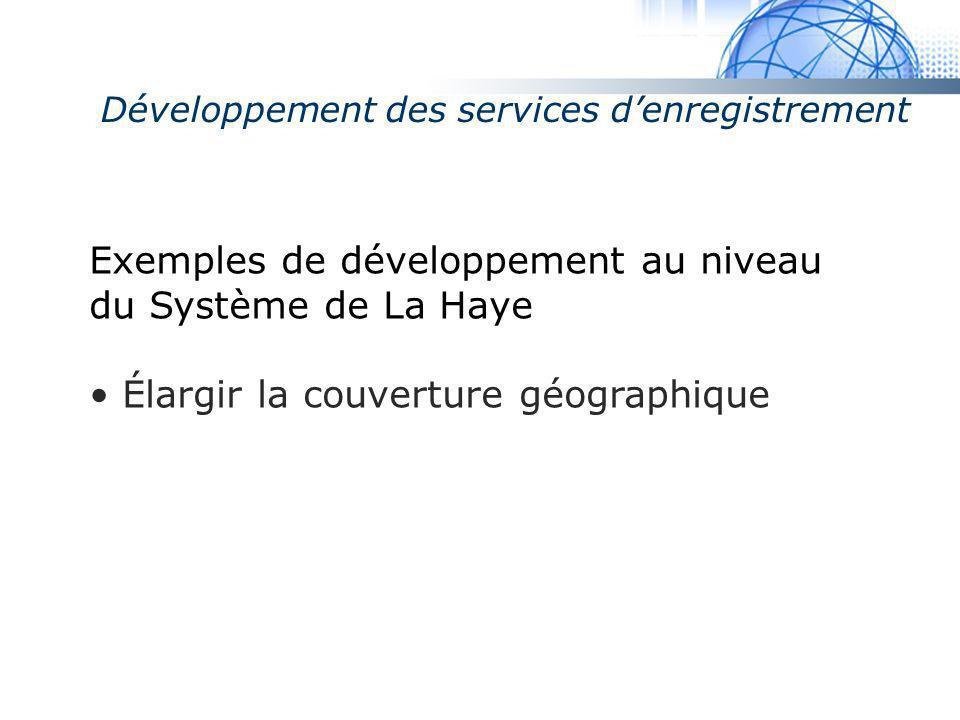 Madrid System Exemples de développement au niveau du Système de La Haye Élargir la couverture géographique Développement des services denregistrement