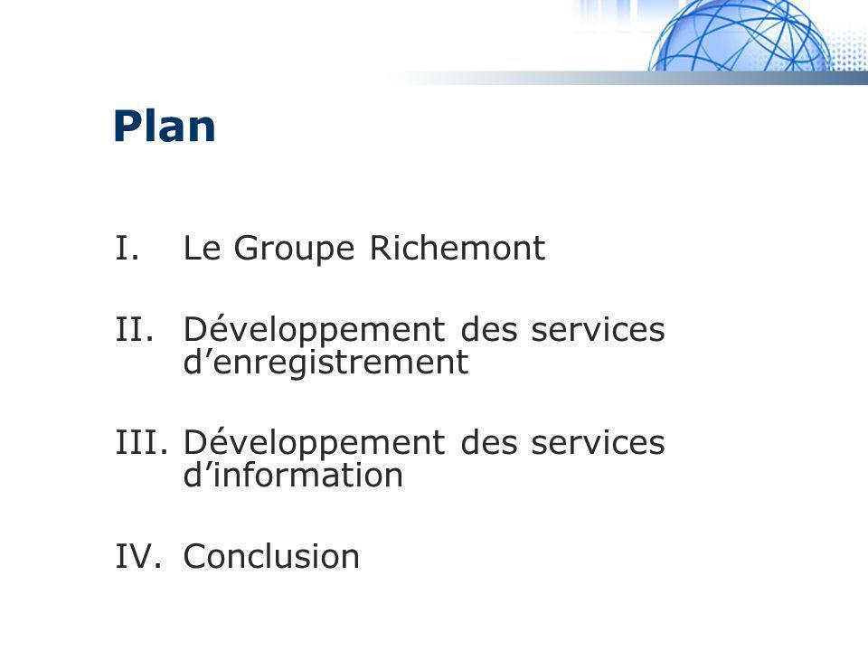 Madrid System Plan I.Le Groupe Richemont II.Développement des services denregistrement III.Développement des services dinformation IV.Conclusion