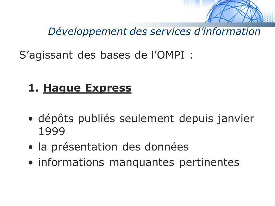 Madrid System Développement des services dinformation Sagissant des bases de lOMPI : 1. Hague Express dépôts publiés seulement depuis janvier 1999 la