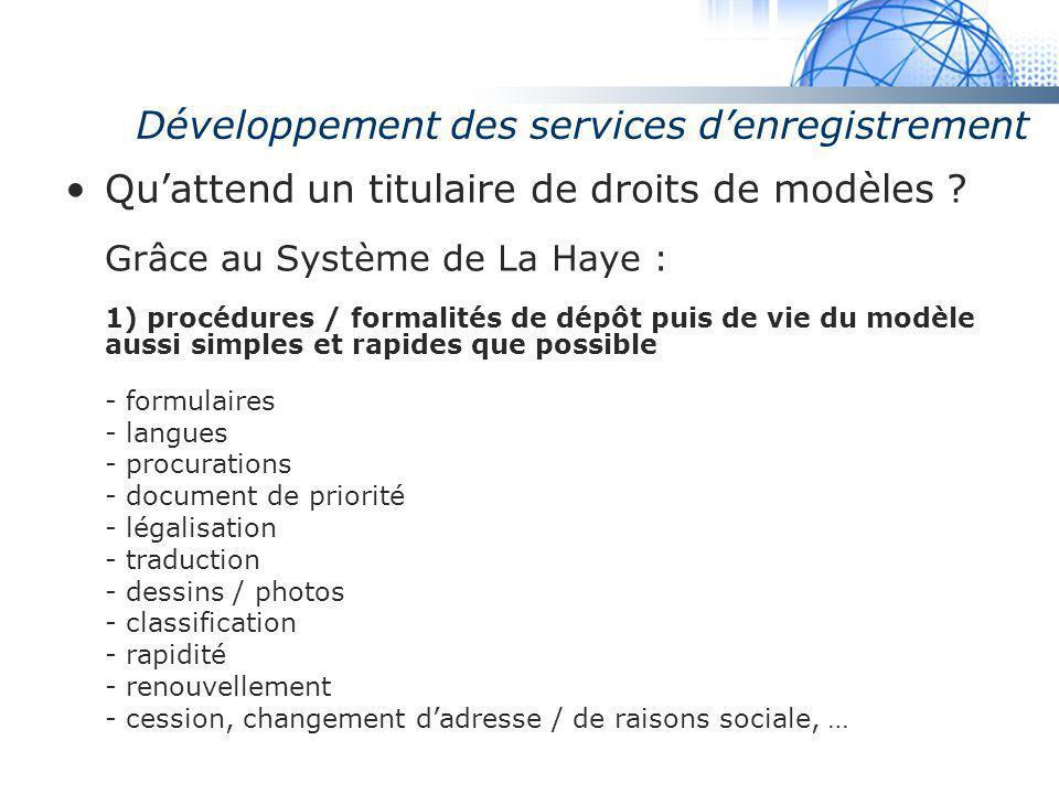 Madrid System Développement des services denregistrement Quattend un titulaire de droits de modèles ? Grâce au Système de La Haye : 1) procédures / fo