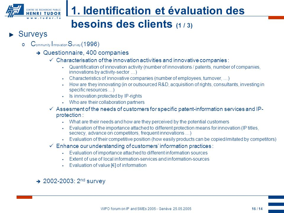 WIPO forum on IP and SMEs 2005 - Genève 25.05.200516 / 14 1.
