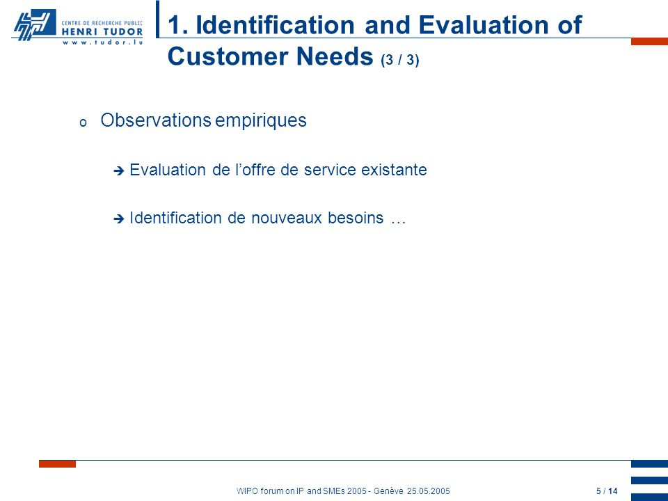 WIPO forum on IP and SMEs 2005 - Genève 25.05.20055 / 14 1. Identification and Evaluation of Customer Needs (3 / 3) o Observations empiriques Evaluati