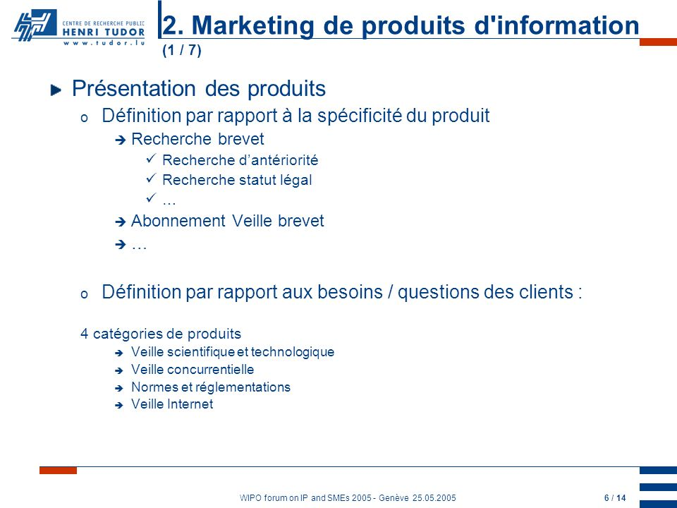 WIPO forum on IP and SMEs 2005 - Genève 25.05.20057 / 14 Evaluation of competitors What are the activities of my competitor .