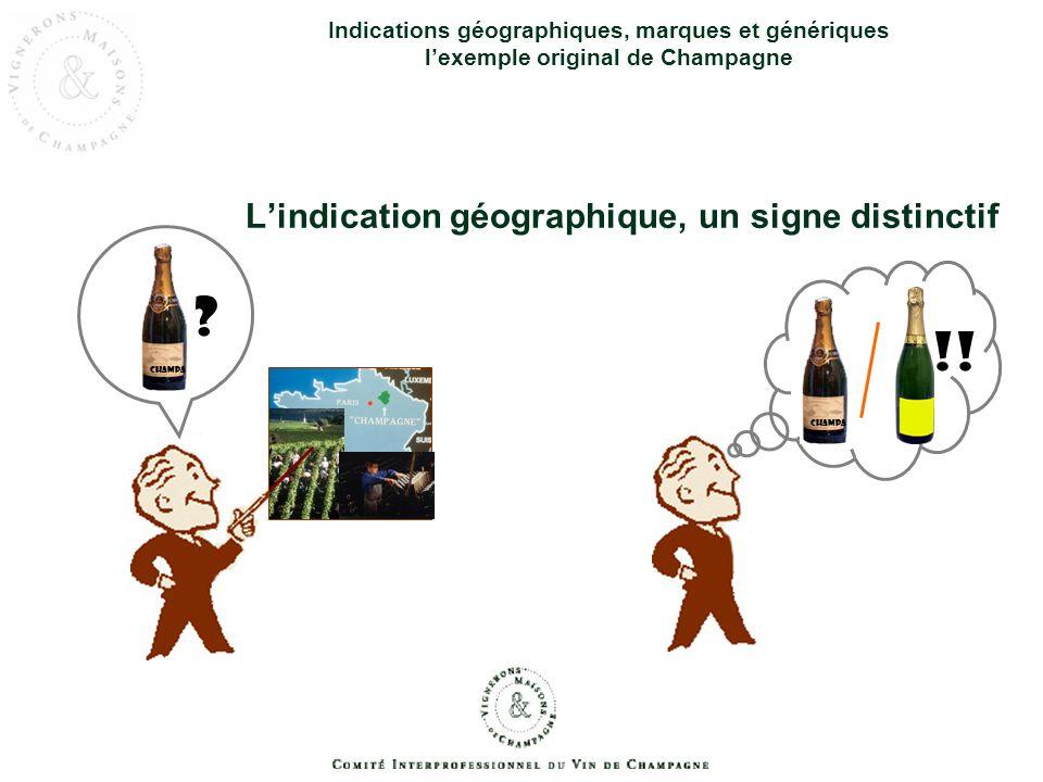 Indications géographiques, marques et génériques lexemple original de Champagne Lindication géographique, un signe distinctif ? CHAMPA GNE !! CHAMPA G