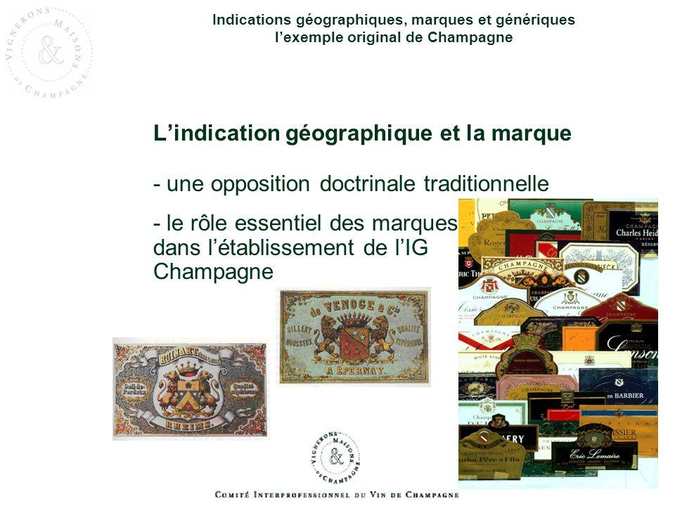 Indications géographiques, marques et génériques lexemple original de Champagne Lindication géographique et la marque - une opposition doctrinale trad