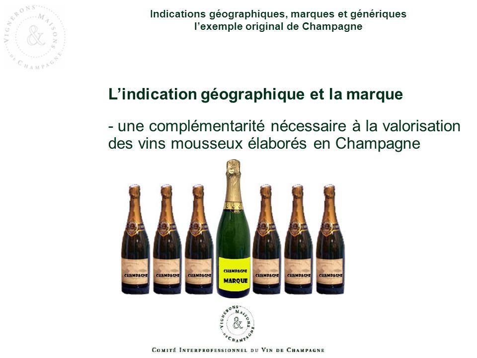 Indications géographiques, marques et génériques lexemple original de Champagne Lindication géographique et la marque - une complémentarité nécessaire
