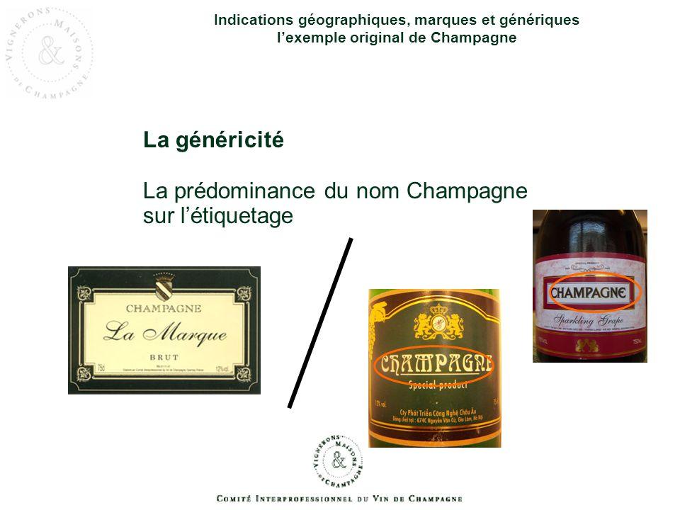 Indications géographiques, marques et génériques lexemple original de Champagne La généricité la notoriété CHAMPAGNE X Y Z CHAMPAGNE = CHAMPAGNE ++