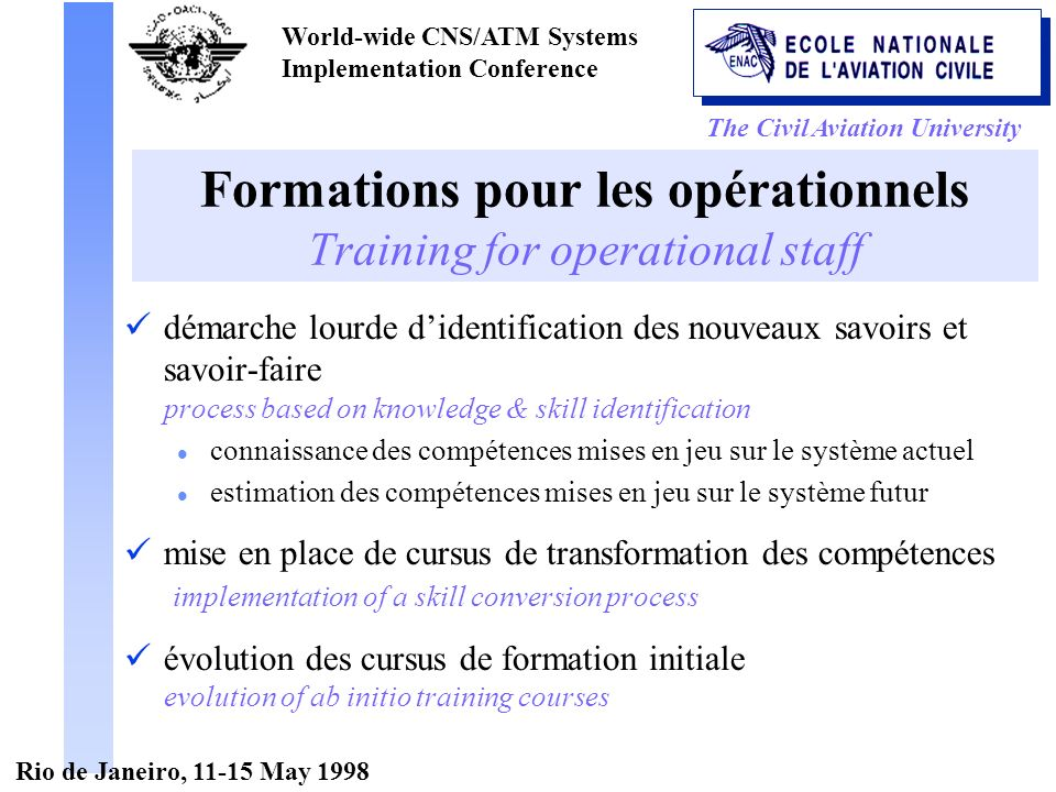 The Civil Aviation University World-wide CNS/ATM Systems Implementation Conference Rio de Janeiro, 11-15 May 1998 Formations pour les opérationnels Tr