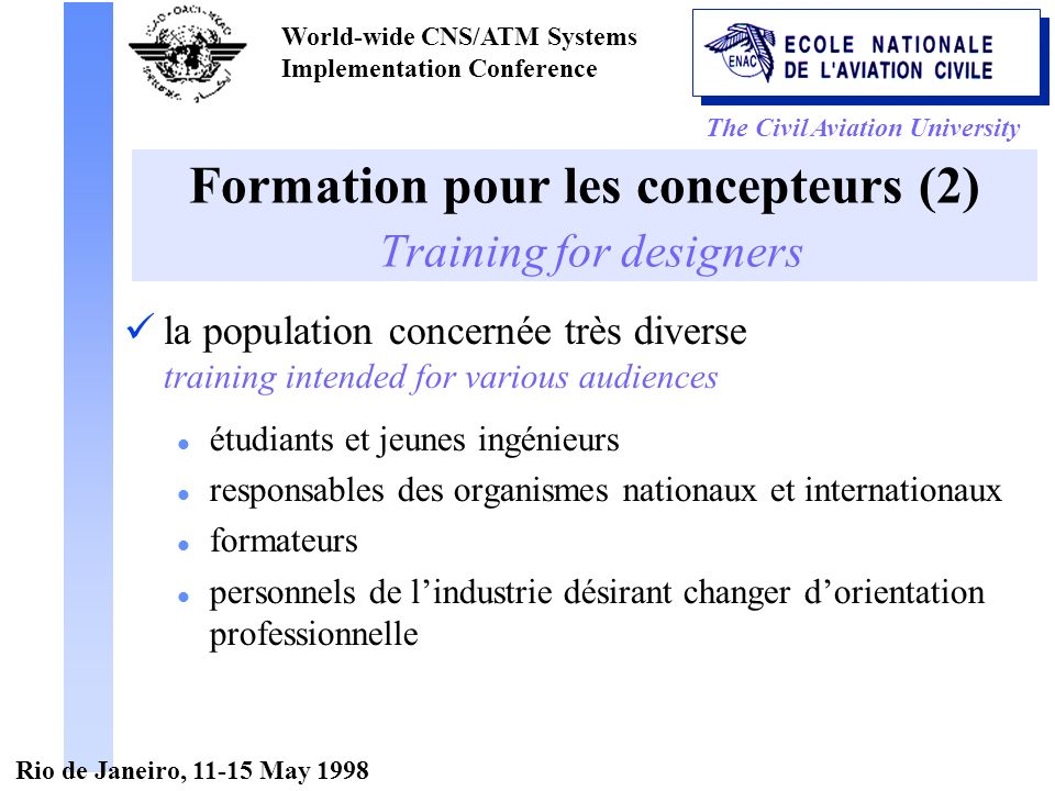 The Civil Aviation University World-wide CNS/ATM Systems Implementation Conference Rio de Janeiro, 11-15 May 1998 Formation pour les concepteurs (2) T