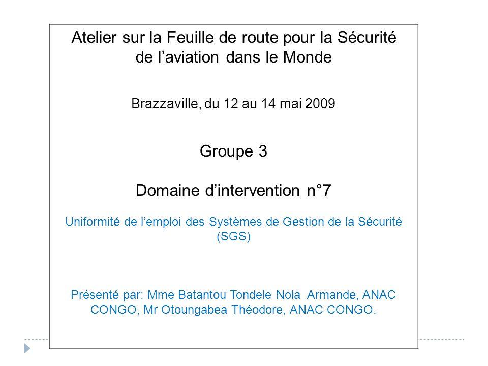 Atelier sur la Feuille de route pour la Sécurité de laviation dans le Monde Brazzaville, du 12 au 14 mai 2009 Groupe 3 Domaine dintervention n°7 Unifo