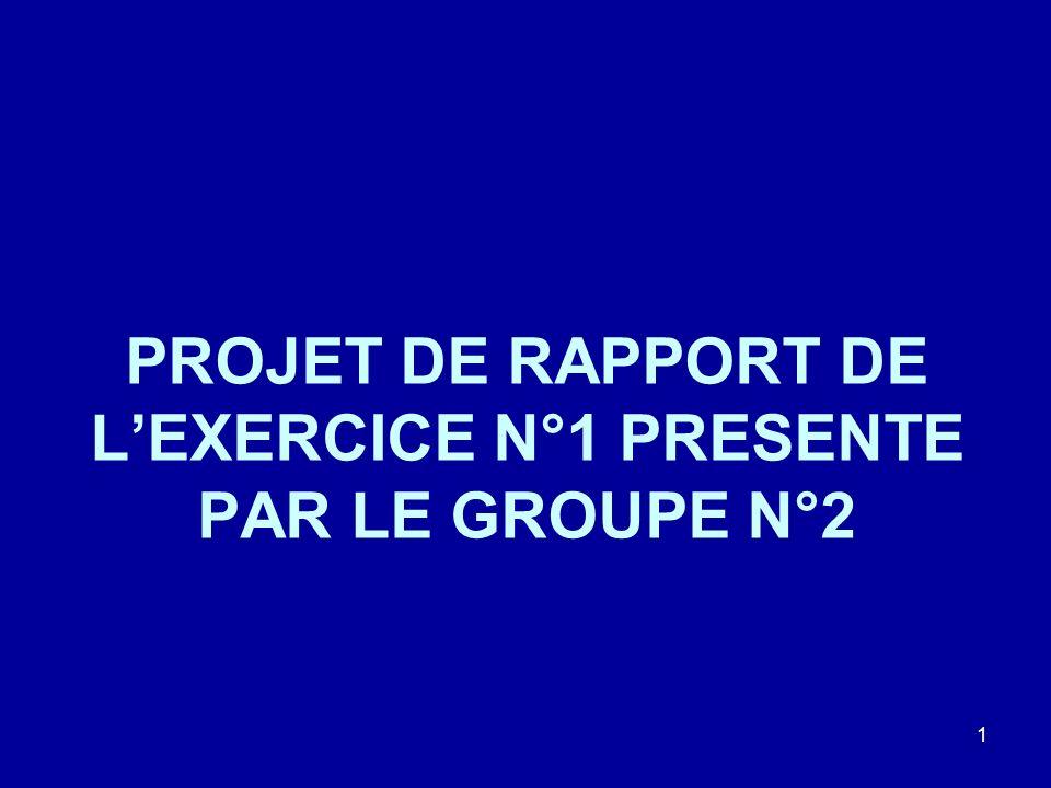 PROJET DE RAPPORT DE LEXERCICE N°1 PRESENTE PAR LE GROUPE N°2 1