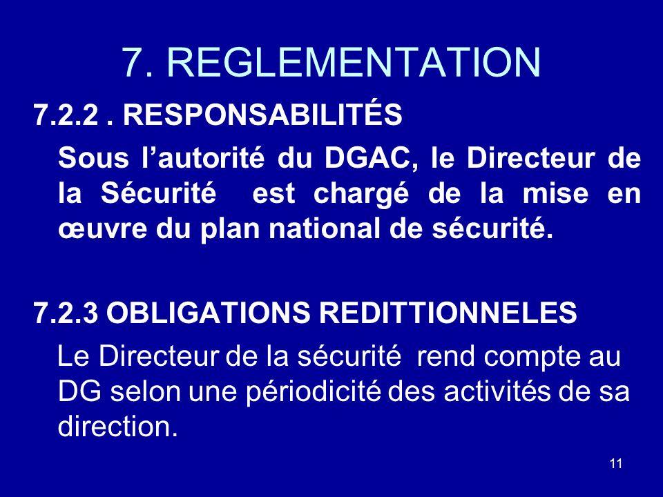 7. REGLEMENTATION 7.2.2. RESPONSABILITÉS Sous lautorité du DGAC, le Directeur de la Sécurité est chargé de la mise en œuvre du plan national de sécuri