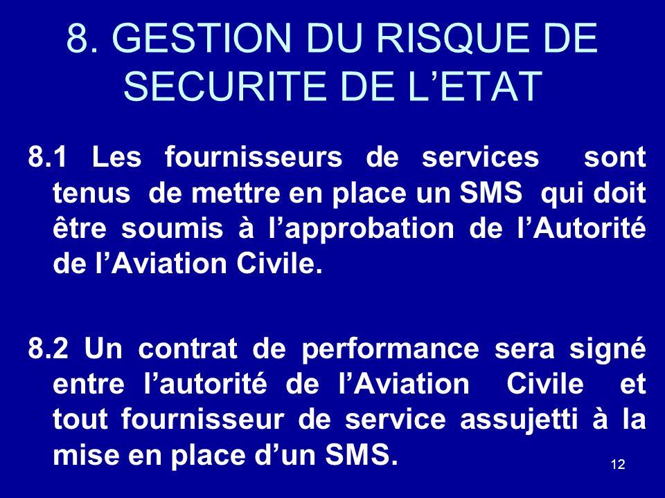 8. GESTION DU RISQUE DE SECURITE DE LETAT 8.1 Les fournisseurs de services sont tenus de mettre en place un SMS qui doit être soumis à lapprobation de