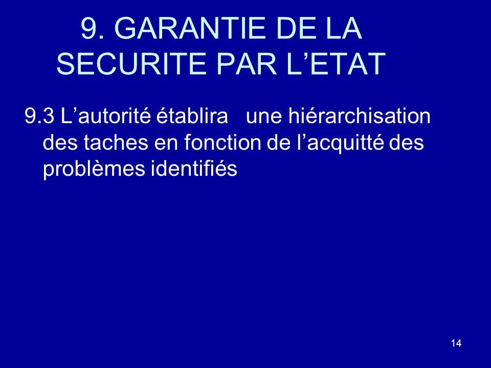 9. GARANTIE DE LA SECURITE PAR LETAT 9.3 Lautorité établira une hiérarchisation des taches en fonction de lacquitté des problèmes identifiés 14