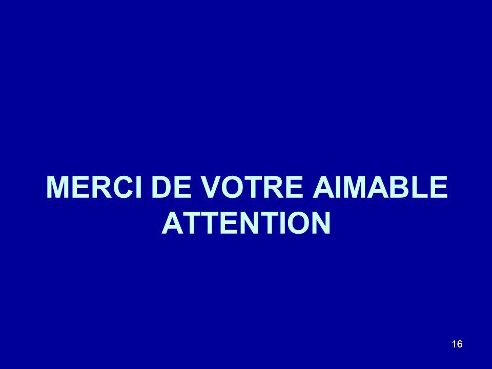 MERCI DE VOTRE AIMABLE ATTENTION 16