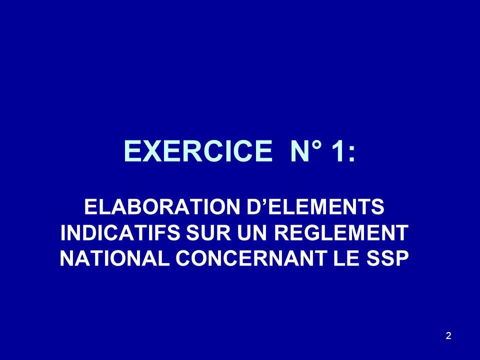 EXERCICE N° 1: ELABORATION DELEMENTS INDICATIFS SUR UN REGLEMENT NATIONAL CONCERNANT LE SSP 2