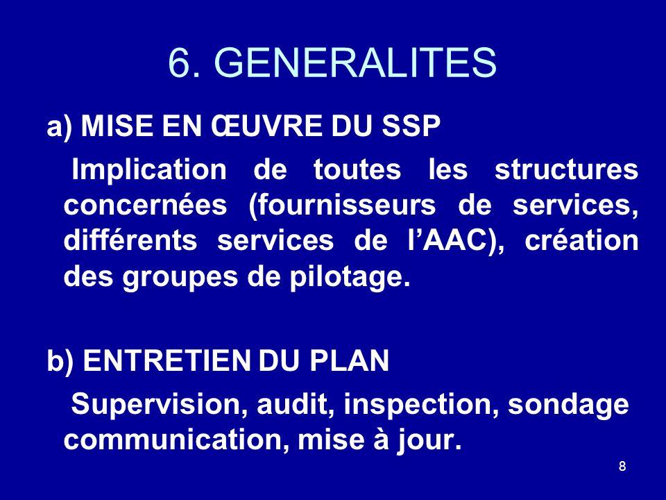6. GENERALITES a) MISE EN ŒUVRE DU SSP Implication de toutes les structures concernées (fournisseurs de services, différents services de lAAC), créati