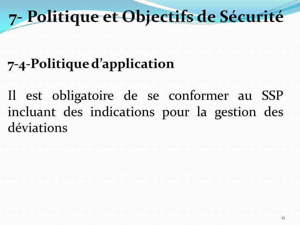 7-4-Politique dapplication Il est obligatoire de se conformer au SSP incluant des indications pour la gestion des déviations 7- Politique et Objectifs de Sécurité 11