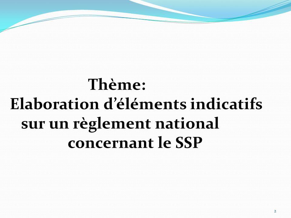 Thème: Elaboration déléments indicatifs sur un règlement national concernant le SSP 2