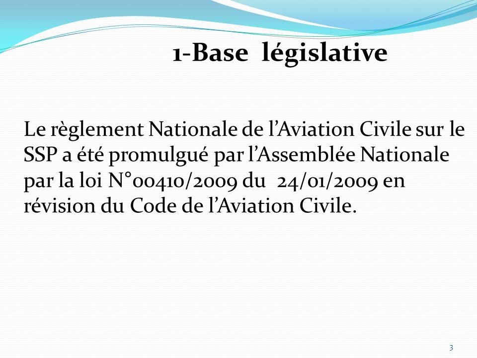 1-Base législative Le règlement Nationale de lAviation Civile sur le SSP a été promulgué par lAssemblée Nationale par la loi N°00410/2009 du 24/01/2009 en révision du Code de lAviation Civile.