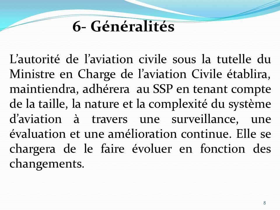 7-1- cadre législatif de sécurité Toutes les structures aéronautiques de lEtat ont lobligation de participer aux activités spécifiques liées à la gestion de sécurité dans lEtat 7- Politique et Objectifs de Sécurité 9