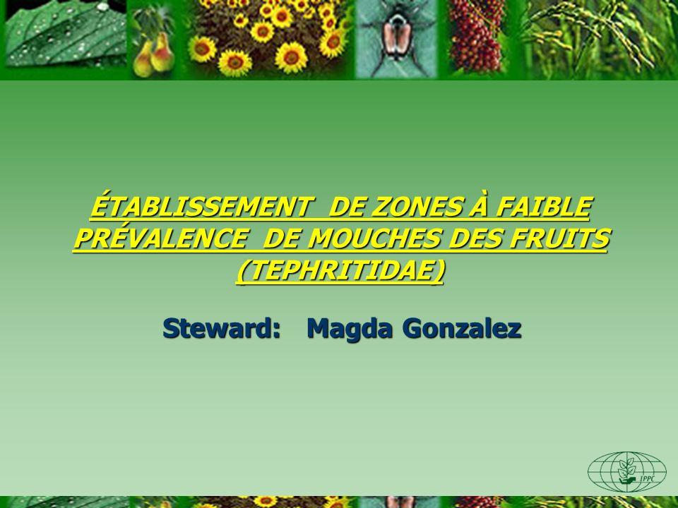 ÉTABLISSEMENT DE ZONES À FAIBLE PRÉVALENCE DE MOUCHES DES FRUITS (TEPHRITIDAE) Steward: Magda Gonzalez