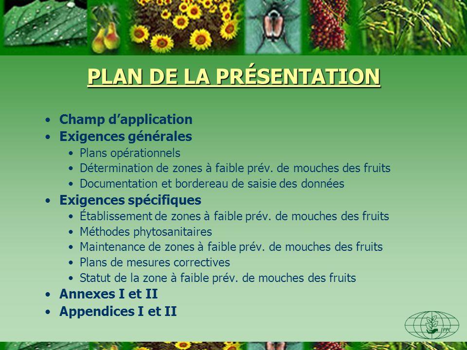 PLAN DE LA PRÉSENTATION Champ dapplication Exigences générales Plans opérationnels Détermination de zones à faible prév.