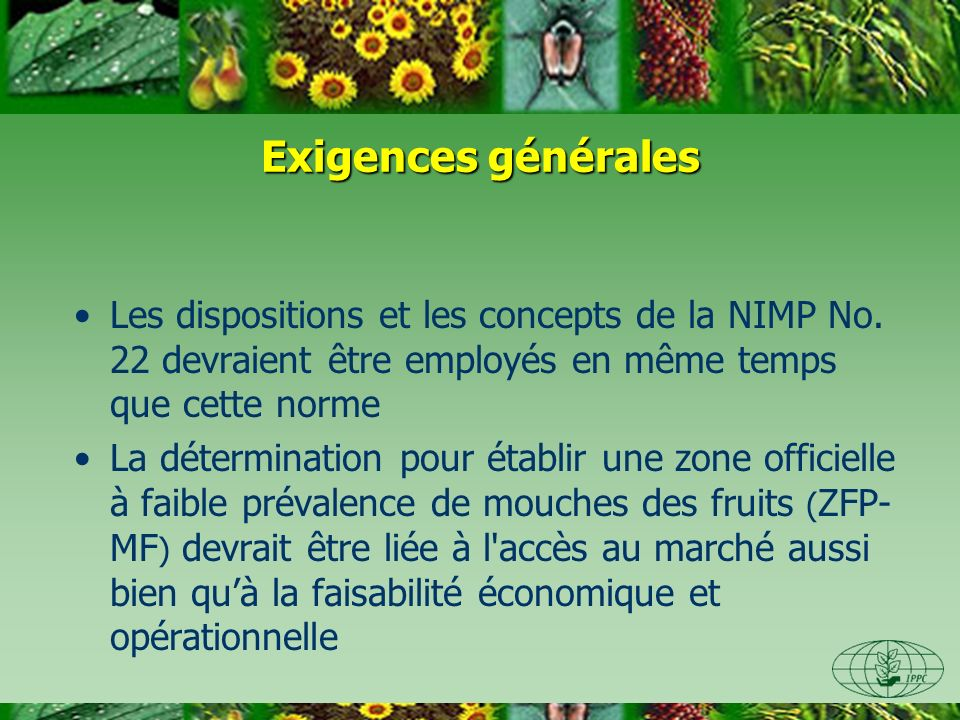 Exigences générales Les dispositions et les concepts de la NIMP No.