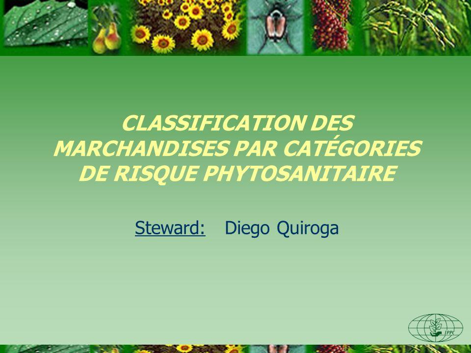CLASSIFICATION DES MARCHANDISES PAR CATÉGORIES DE RISQUE PHYTOSANITAIRE Steward: Diego Quiroga