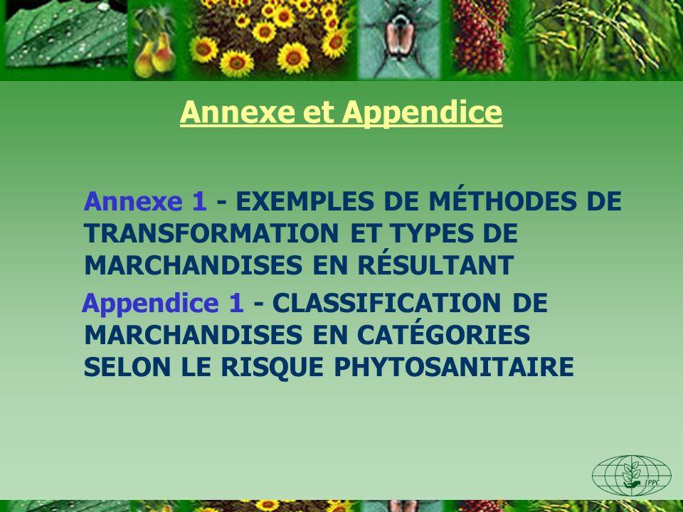 Annexe et Appendice Annexe 1 - EXEMPLES DE MÉTHODES DE TRANSFORMATION ET TYPES DE MARCHANDISES EN RÉSULTANT Appendice 1 - CLASSIFICATION DE MARCHANDIS