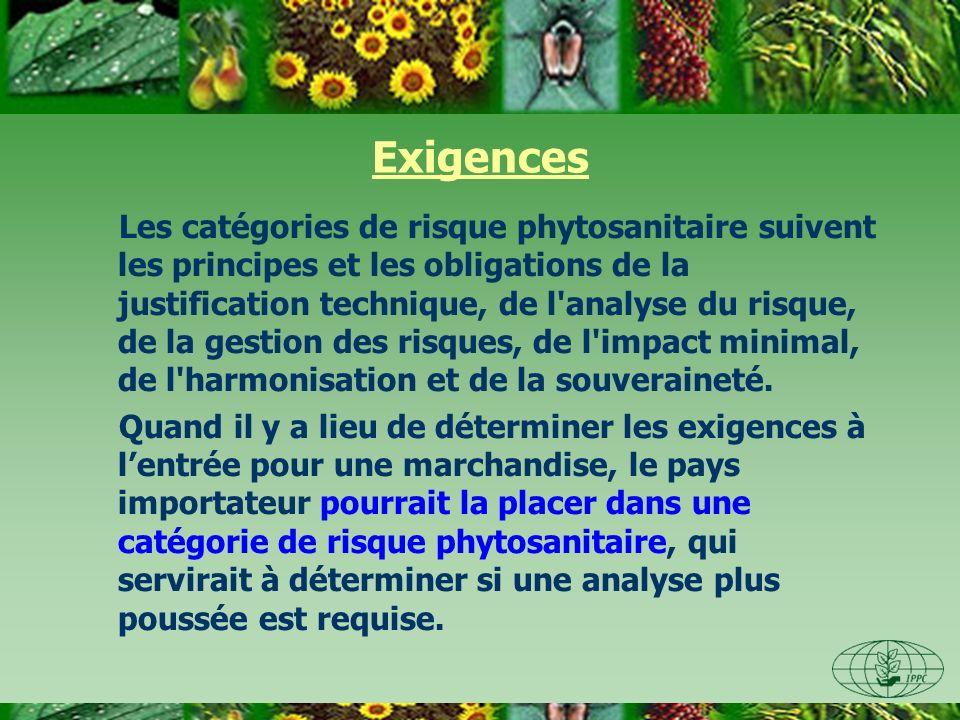 Exigences Les catégories de risque phytosanitaire suivent les principes et les obligations de la justification technique, de l'analyse du risque, de l