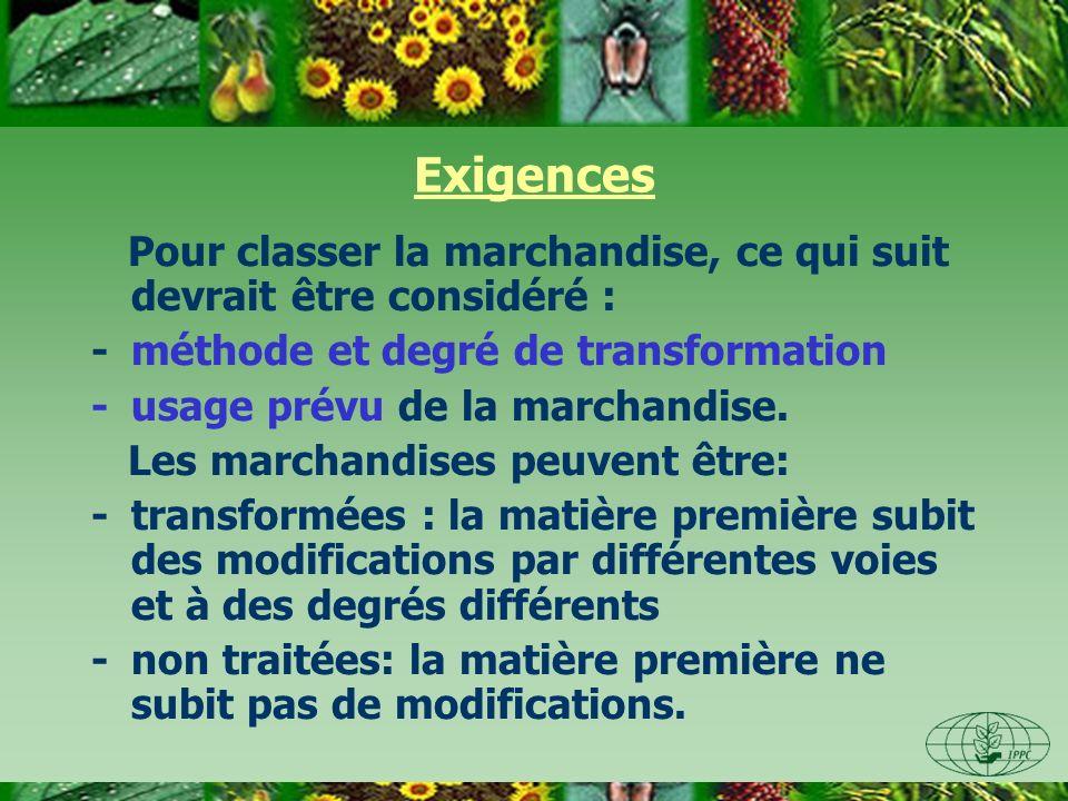 Exigences Pour classer la marchandise, ce qui suit devrait être considéré : -méthode et degré de transformation -usage prévu de la marchandise. Les ma