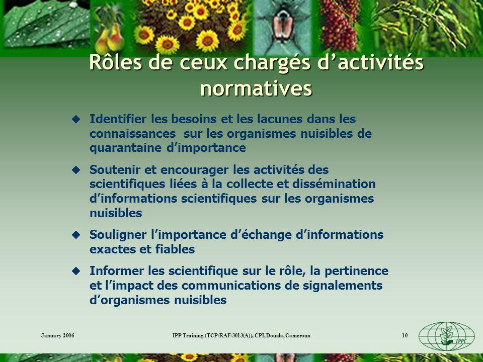 January 2006IPP Training (TCP/RAF/3013(A)), CPI, Douala, Cameroun10 Rôles de ceux chargés dactivités normatives Identifier les besoins et les lacunes