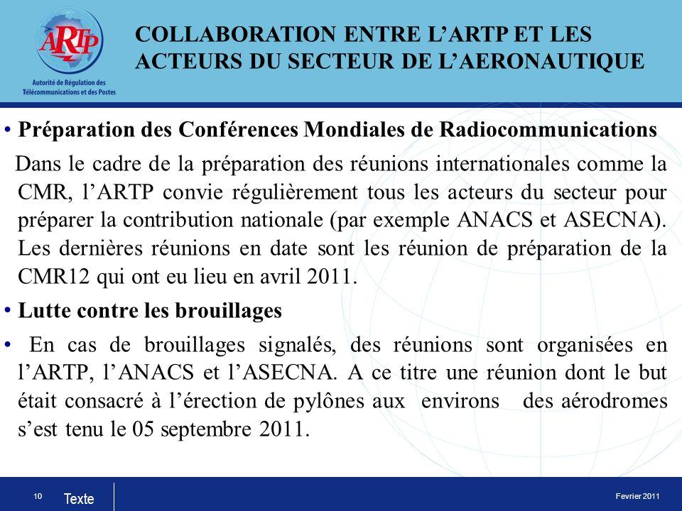 Fevrier 2011 Texte Préparation des Conférences Mondiales de Radiocommunications Dans le cadre de la préparation des réunions internationales comme la CMR, lARTP convie régulièrement tous les acteurs du secteur pour préparer la contribution nationale (par exemple ANACS et ASECNA).