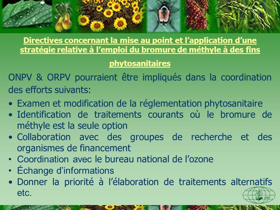Directives concernant la mise au point et lapplication dune stratégie relative à lemploi du bromure de méthyle à des fins phytosanitaires Examen et mo