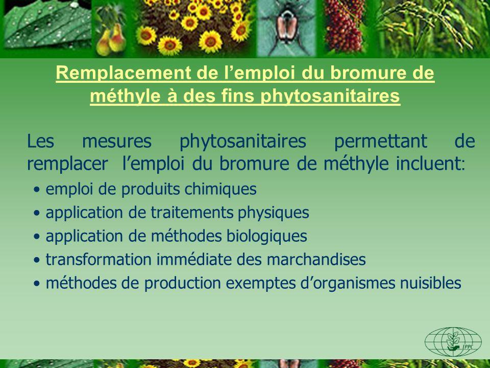 Réduction de lemploi du bromure de méthyle à des fins phytosanitaires Les mesures suivantes peuvent être mises en oeuvre : Inspection- fumigation Amélioration des installations de traitement Evitement de répéter inutilement des fumigations