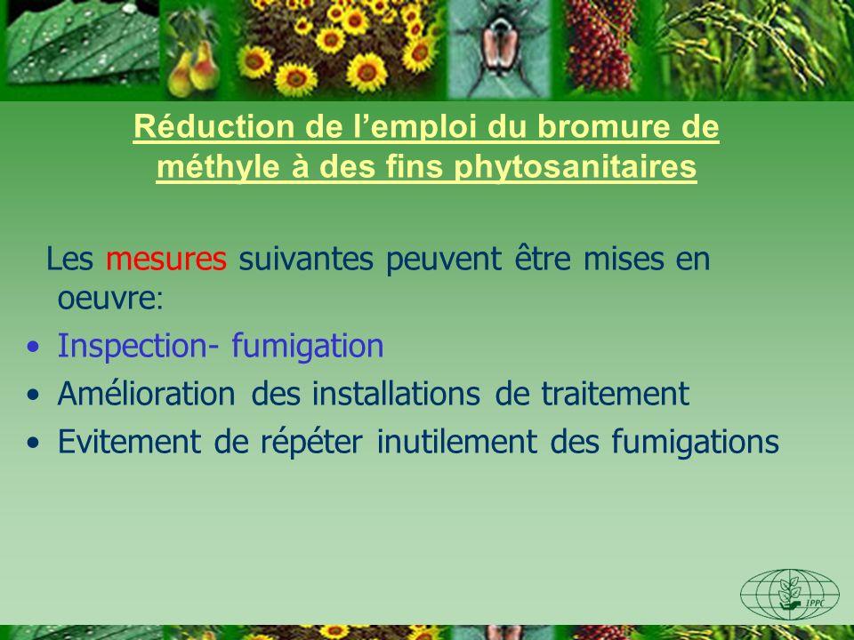 Réduction de lemploi du bromure de méthyle à des fins phytosanitaires Les mesures suivantes peuvent être mises en oeuvre : Inspection- fumigation Amél