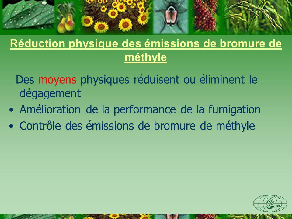 Réduction physique des émissions de bromure de méthyle Des moyens physiques réduisent ou éliminent le dégagement Amélioration de la performance de la