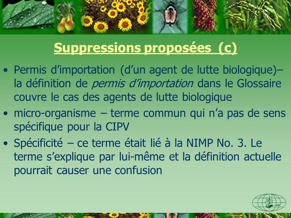 Suppressions proposées (c) Permis dimportation (dun agent de lutte biologique)– la définition de permis dimportation dans le Glossaire couvre le cas des agents de lutte biologique micro-organisme – terme commun qui na pas de sens spécifique pour la CIPV Spécificité – ce terme était lié à la NIMP No.