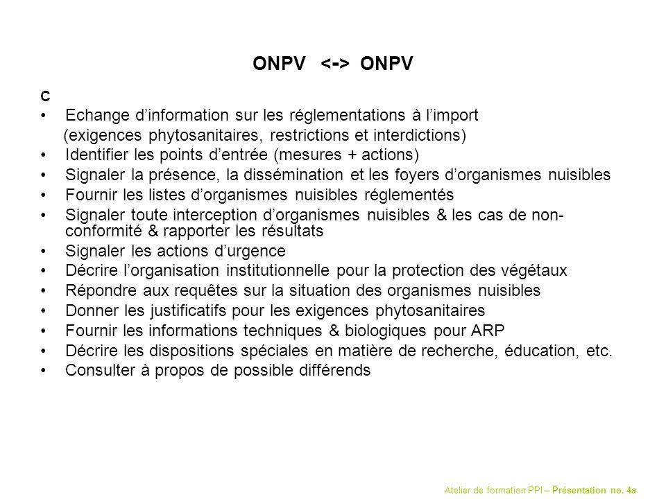 ONPV C Echange dinformation sur les réglementations à limport (exigences phytosanitaires, restrictions et interdictions) Identifier les points dentrée