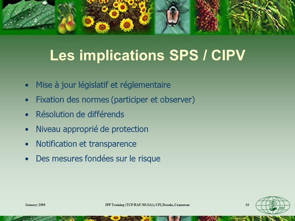 January 2006IPP Training (TCP/RAF/3013(A)), CPI, Douala, Cameroun10 Les implications SPS / CIPV Mise à jour législatif et réglementaire Fixation des n