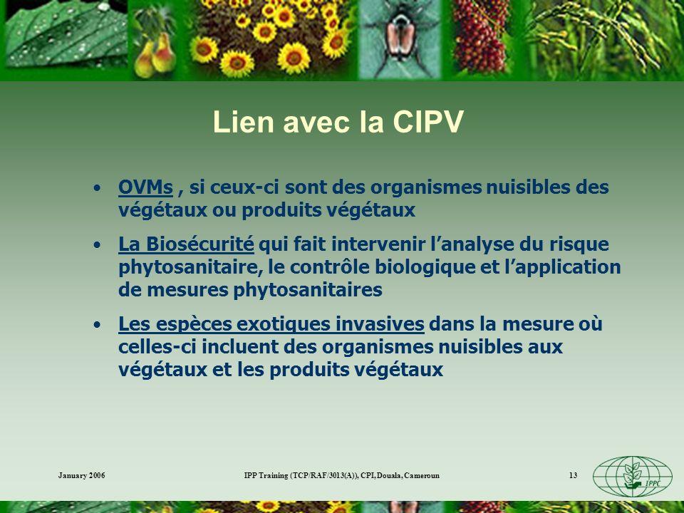 January 2006IPP Training (TCP/RAF/3013(A)), CPI, Douala, Cameroun13 Lien avec la CIPV OVMs, si ceux-ci sont des organismes nuisibles des végétaux ou p