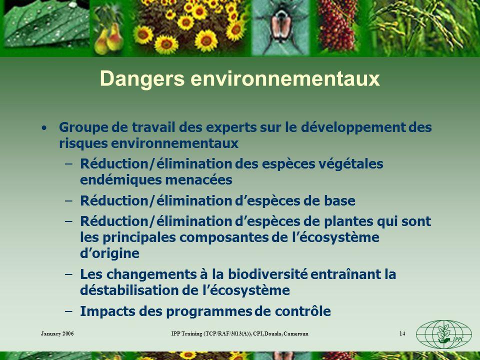 January 2006IPP Training (TCP/RAF/3013(A)), CPI, Douala, Cameroun14 Dangers environnementaux Groupe de travail des experts sur le développement des ri